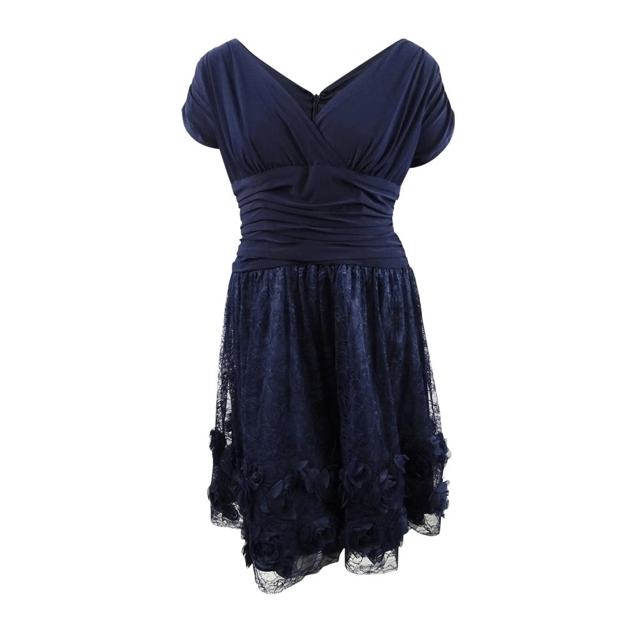 SL Fashions Womens Plus Size Rosette Fit & Flare Dress - Navy