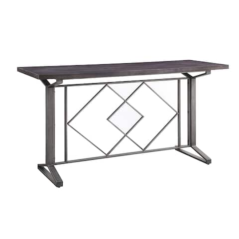 ACME Evangeline Counter Height Table in Salvaged Brown and Black Finish