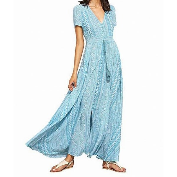 f0e6dca9c1 Shop SheIn Blue Women's Size XL Tribal Printed Shirred Button Maxi Dress -  Free Shipping On Orders Over $45 - Overstock - 27046005