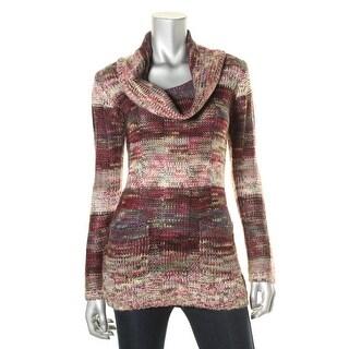 Ultra Flirt Womens Juniors Cowl Striped Tunic Sweater - S