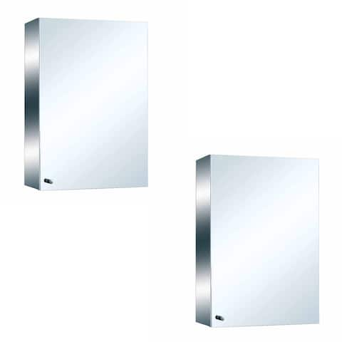 """22"""" Stainless Steel Medicine Cabinet Mirror Wall Mount Set of 2 - Silver"""