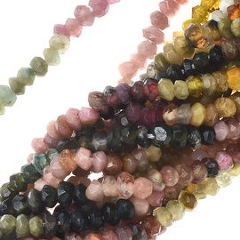 Graduated Tourmaline Gemstone Beads, Faceted Rondelles 2x3mm, 13 Inch Strand, Multi