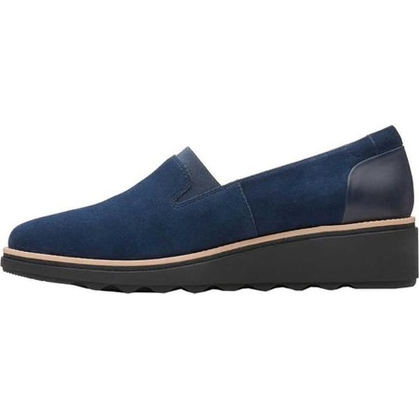 Clarks /'Sharon Dolly/' Ladies Slip On Suede /& Leather Shoe