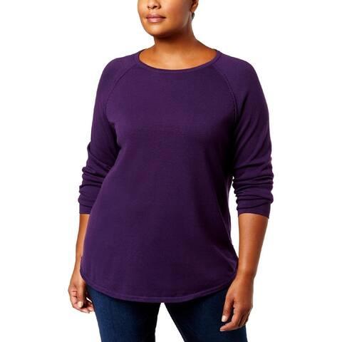 Karen Scott Womens Plus Pullover Sweater Cotton Curved Hem