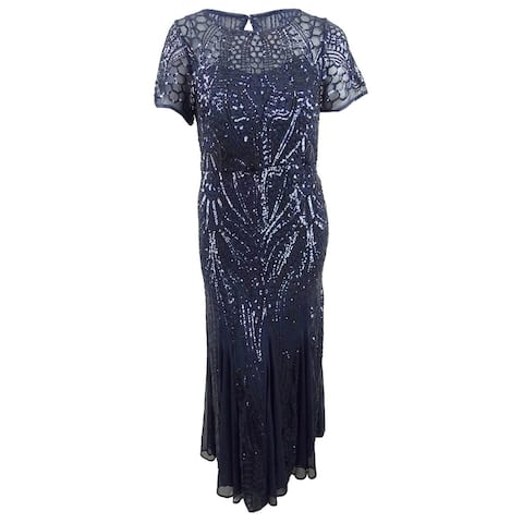 R&M Richards Women's Plus Size Sequined Godet Gown (14W, Navy) - Navy - 14W