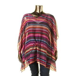 Lauren Ralph Lauren Womens Plus Sheer Striped Blouse