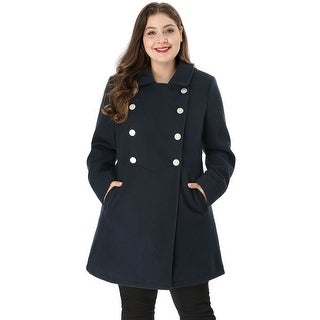 Women's Plus Size A Line Peter Pan Collar Double Breasted Coat - Blue