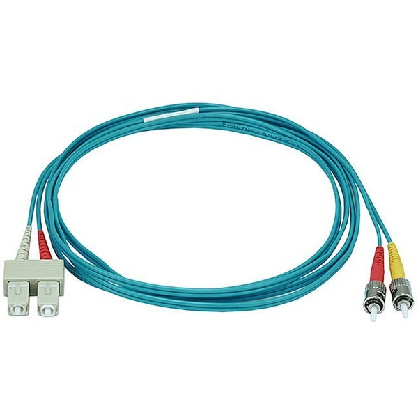 Monoprice Fiber Optic Cable - ST to SC, OM3, 50/125 Type, Multi Mode, 10Gb, Duplex, Aqua, 2m