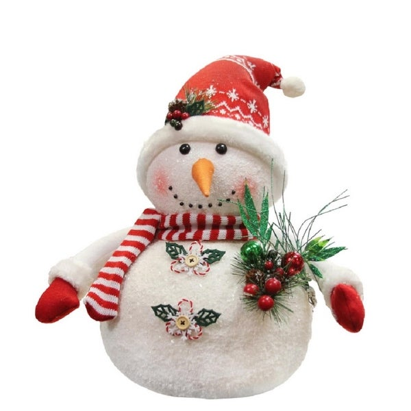 "20"" Alpine Chic Sparkling Snowman with Nordic Style Santa Hat Christmas Decoration"