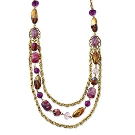 Brass Purple Crystal Multistrand Necklace - 18in