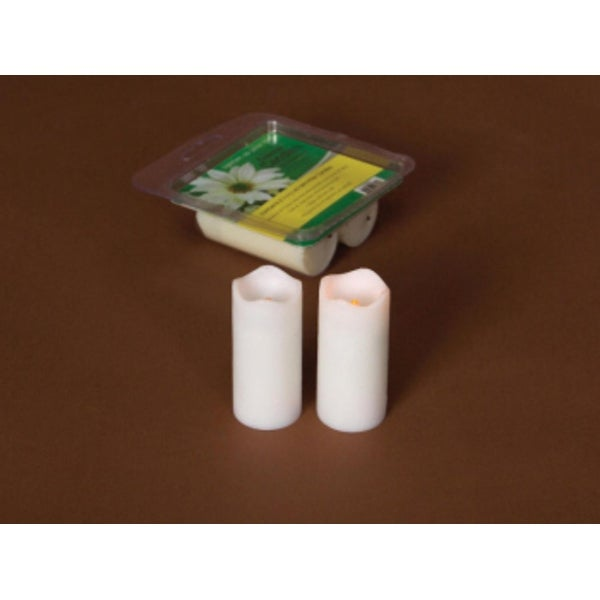 """Pack of 12 White Flameless LED Mini Christmas Pillar Candles w/Timers 3"""""""