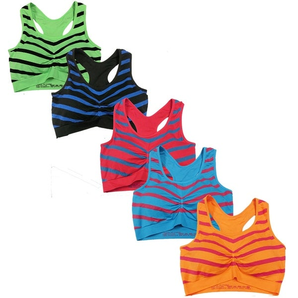 Women's 6 Pack Racer Back Chevron Print Athletic Sports Yoga Bra