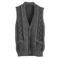 Men's Aran Waistcoat - Cable Knit Wool Button Down Sweater Vest