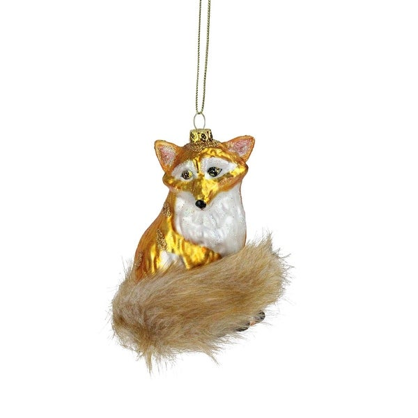 "4.25"" Golden Glittered Sitting Fox with Furry Tail Christmas Ornament"
