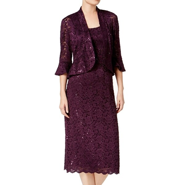 3e0b9aa0 R&M Richards Purple Womens Size 10 Sequin Lace Jacket Sheath Dress