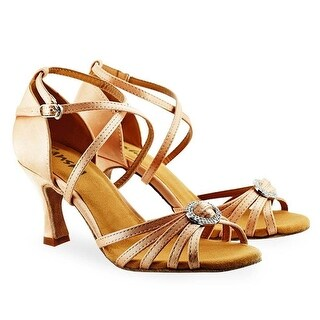 Sansha Adult Light Tan Round Buckle Accent Barbara Ballroom Shoes Womens