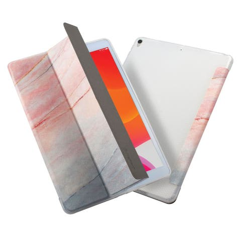 """Marble Tablet Case For iPad 8 10.2"""" 2020, Trifold Cover, Auto Sleep/Wake, Pink"""