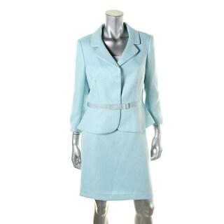 Tahari ASL Womens Petites Frank Herringbone 2PC Skirt Suit