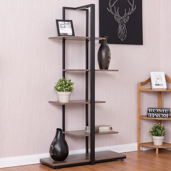 Costway Bookcase 60x27x27 Modern Open Concept Display Etagere