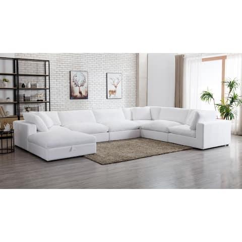Rivas Contemporary Feather Fill 7-Piece Modular Sectional Sofa with Ottoman
