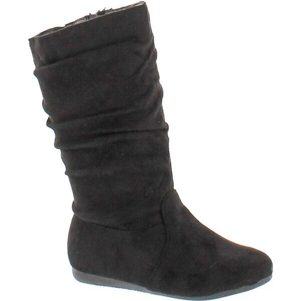 Link Selena-23K Girl's Mid-Calf Solid Color Flat Heel Slouch Boots - Black
