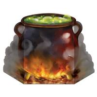 "Pack of 6 Bubbling Witch's Cauldron Stand-Up Halloween Decoration 36.5"" - Multi"
