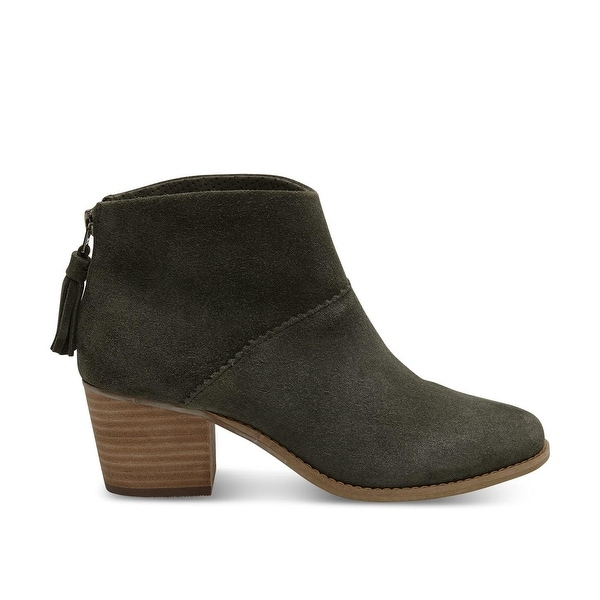 TOMS Womens Leila Suede Round Toe Ankle Chelsea Boots