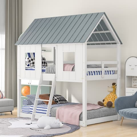 Twin over Twin Size Low Bunk Beds with Roof and Fence-shaped Guardrail