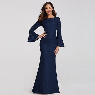 Ever-Pretty Lace Mermaid Flare Long Sleeve Evening Party Dresses For Women 07798