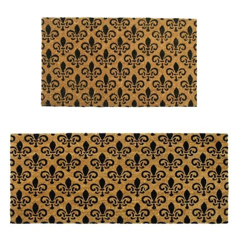 """Rubber-Cal """"Fleur de Lis Pattern"""" Doormat Kit - 18"""" x 30"""", 24"""" x 57"""" - 2 Door Mats"""