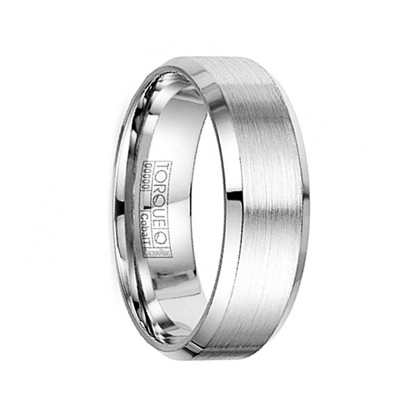 FURY Brushed Finish Cobalt Wedding Band with Polished Beveled Edges by Crown Ring - 7mm