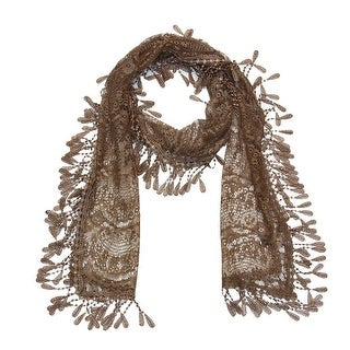 """Women's Sheer Lace Scarf With Fringe - Khaki - 70"""" x 11"""""""