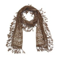 "Women's Sheer Lace Scarf With  Fringe - Khaki - 70"" x 11"""