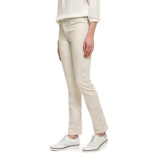NYDJ Womens Petite Skinny Clay Wash Jeans Beige - 12P