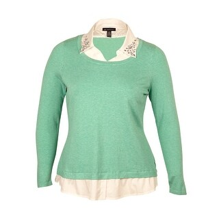 INC International Concepts Women's Layered-Look Sweater - aloe essence - ps