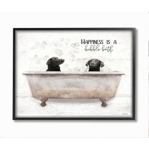 Stupell Industries Animal Bathroom Happiness is a Bubble Bath Dog Quote Framed Wall Art - White