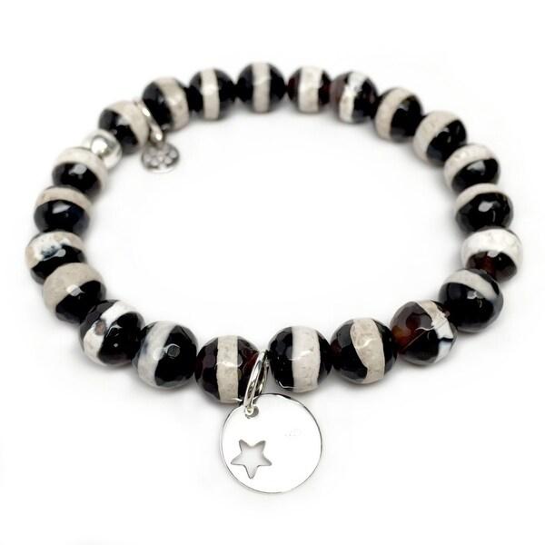 "Black & White Agate Star Disc Silver Charm Lucy 7"" Bracelet"