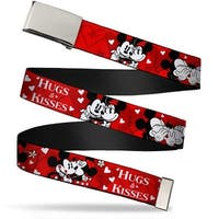 """Blank Chrome 1.0"""" Buckle Mickey & Minnie Hugs & Kisses Poses Reds White Web Belt 1.0"""" Wide - S"""