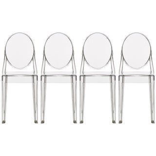 2xhome Set of 4 Clear Modern Dining Chair Armless No Arm Side Chairs Stackable Plastic Chairs Home