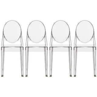 Merveilleux 2xhome Set Of 4 Clear Modern Dining Chair Armless No Arm Side Chairs  Stacking Plastic Chairs