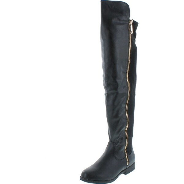 Bamboo Monterey-05 Women's Stretch Back Side Zipper Low Heel Over The Knee Boots. Opens flyout.
