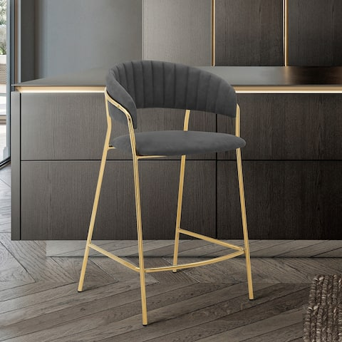 """Nara 26"""" Faux Leather and Metal Counter Height Bar Stool"""