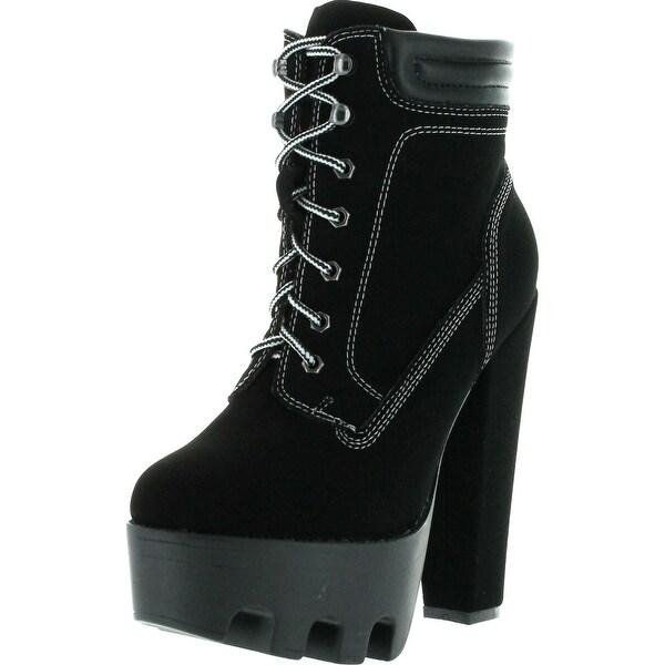 Wild Diva Womens Vive-11 Padded Collar Ankle Lugsole Platform High Thick Block Heel Bootie