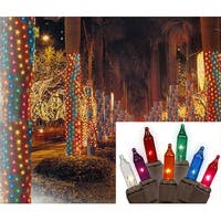 2' x 8' Multi Twinkle Christmas Net Style Tree Trunk Wrap Lights - Brown Wire