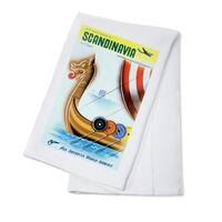 Pan Am World Airways Scandinavia Carlu Vintage Ad (100% Cotton Towel Absorbent)