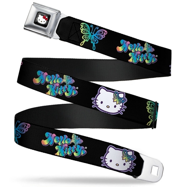 Hello Kitty W Red Bow Full Color Black Hello Kitty Butterfly2 Black Purples Seatbelt Belt