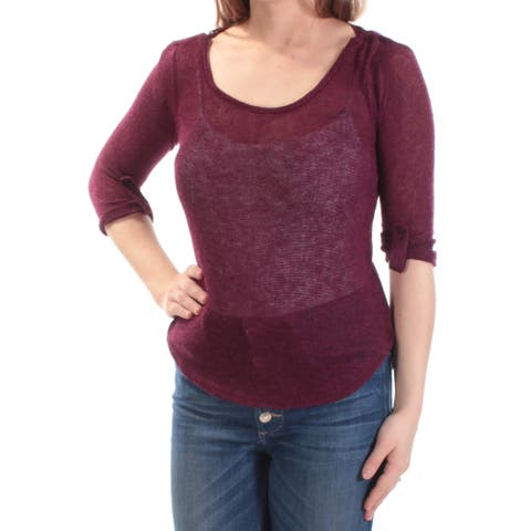 BCX Womens Burgundy Lace 3/4 Sleeve Scoop Neck Top Size 2XS