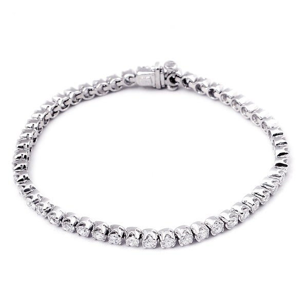 Cubic Zirconia Sterling Silver Round Tennis Bracelet by Orchid Jewelry. Opens flyout.