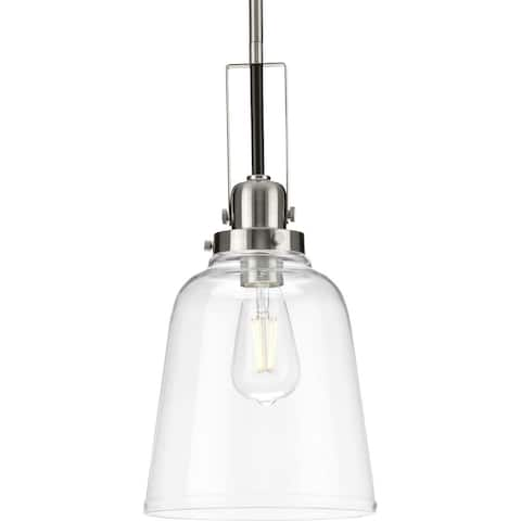 Rushton Collection 1-Light Brushed Nickel Clear Glass Industrial Pendant Hanging Light - 8.5 in x 8.5 in x 16.87 in