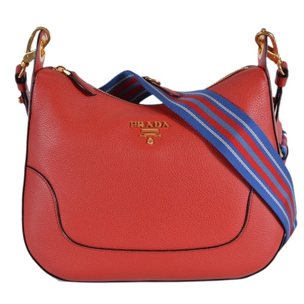 Prada 1BC052 Rosso Red Soft Leather Daino Stripe Strap Crossbody Purse Bag 1ce8fc820c0b7